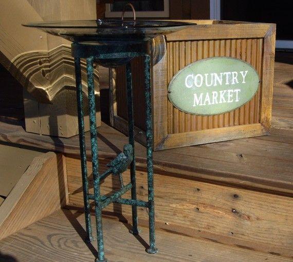 Candle Holder Wrought Iron Bird Feeder Garden By Jpcountrymarket, $80.00
