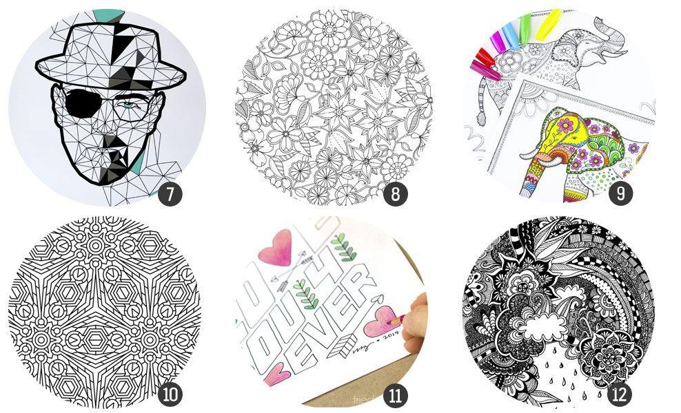 18 láminas para imprimir y colorear para adultos | pintar ...