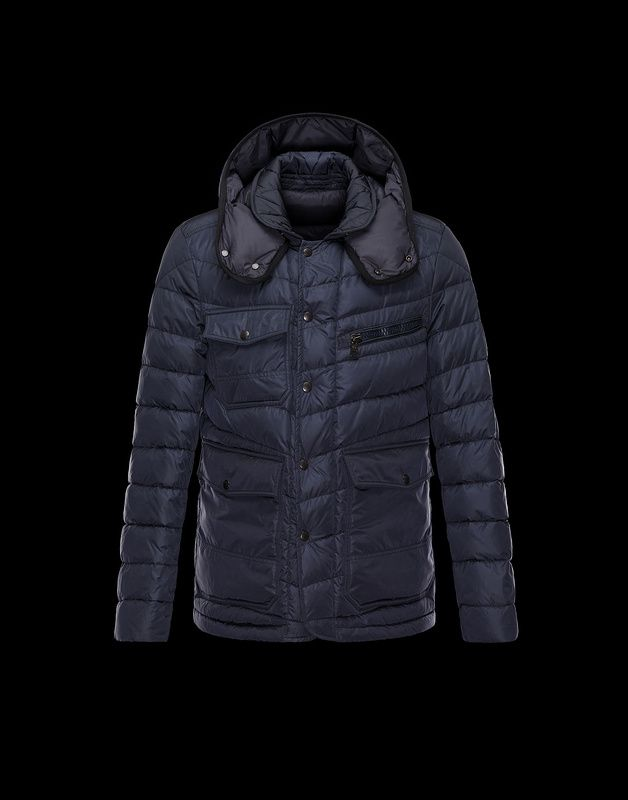 Moncler River Men Detachable Hood Silky Nylon Parka Navy For Sale