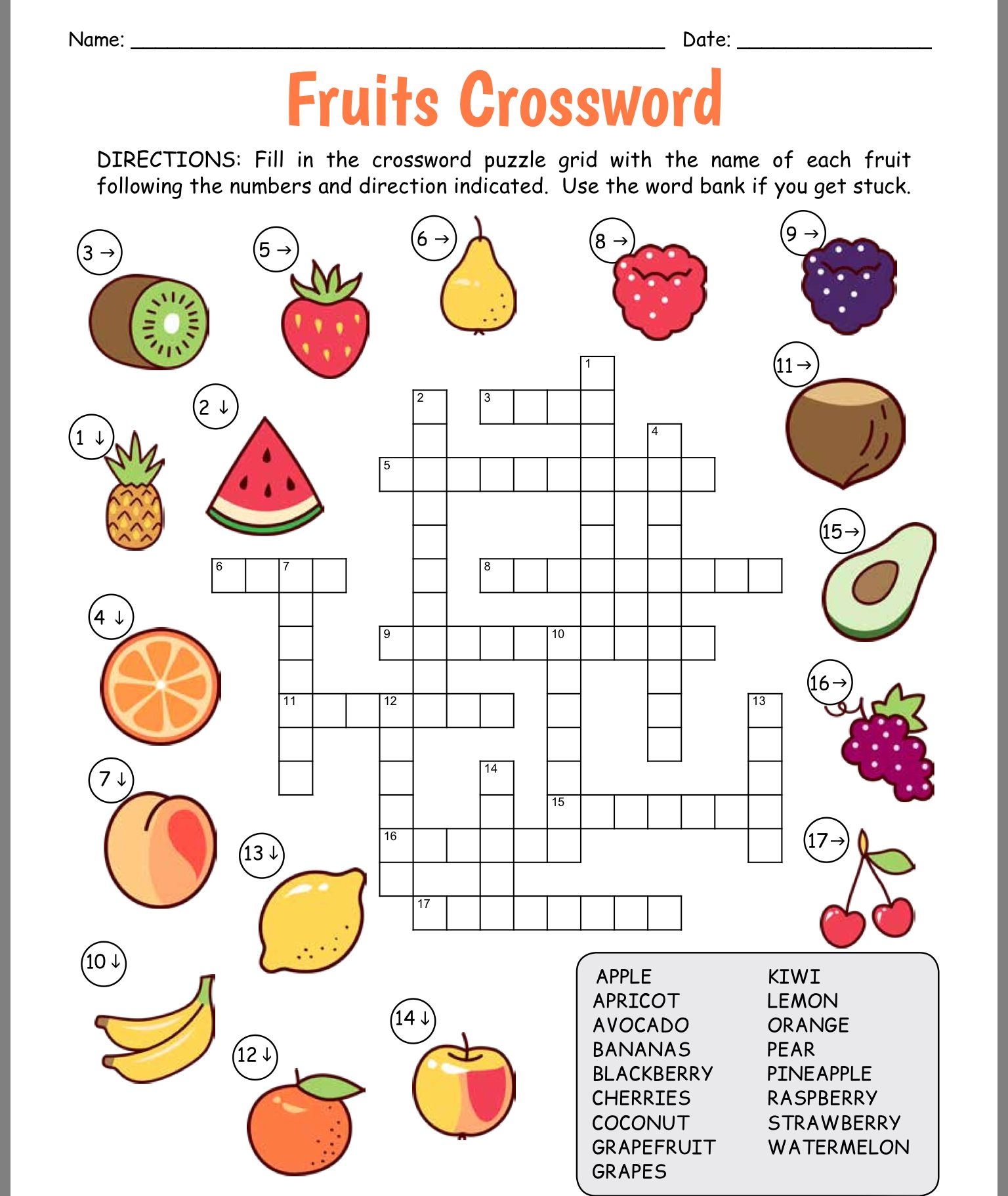 Worksheet Fruits English