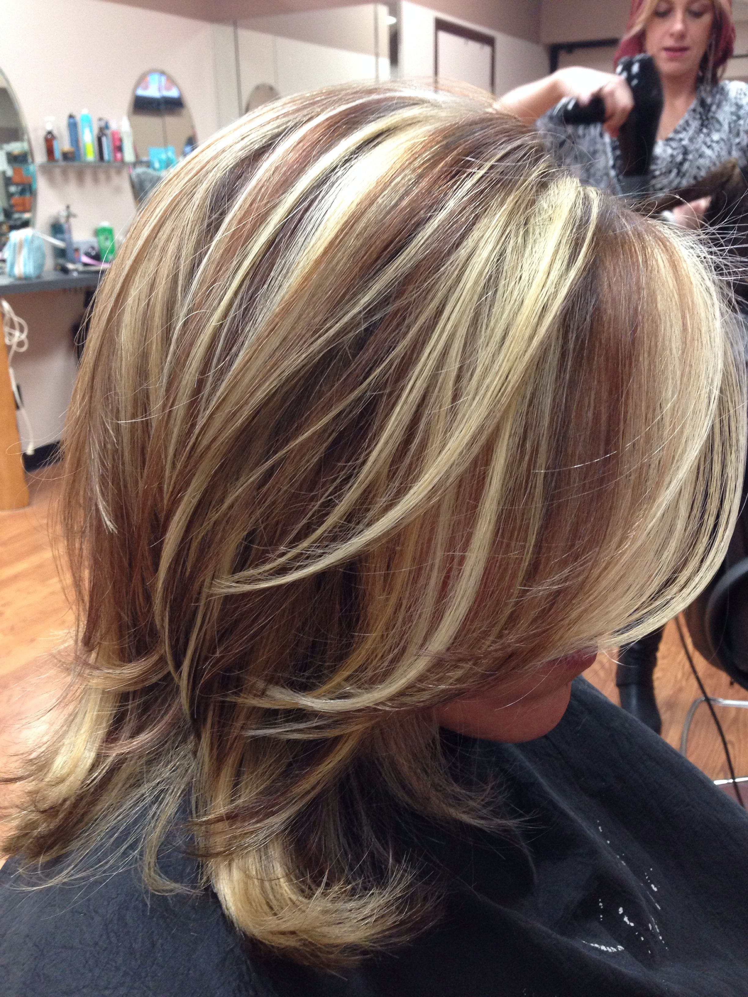Red Brown Lowlights And Highlights Hair Nails