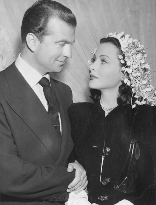 May 25, 1943: John Loder and Hedy Lamarr's wedding.  Classic Hollywood Stars.  Vintage Style