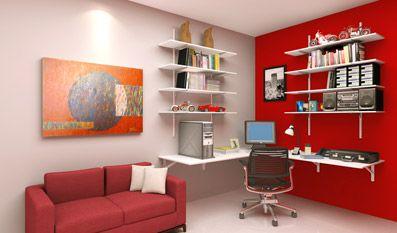 Gostei desse home office porque ele é barato, simples e prático:Decoração Top