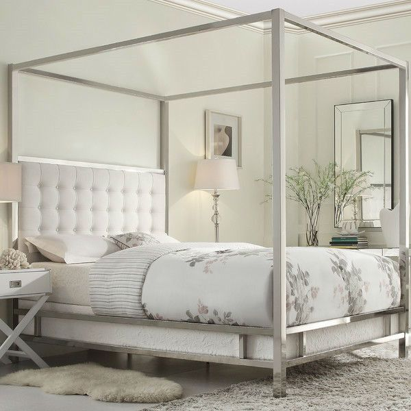 queen size metal canopy bed with white faux leather upholstered headboard