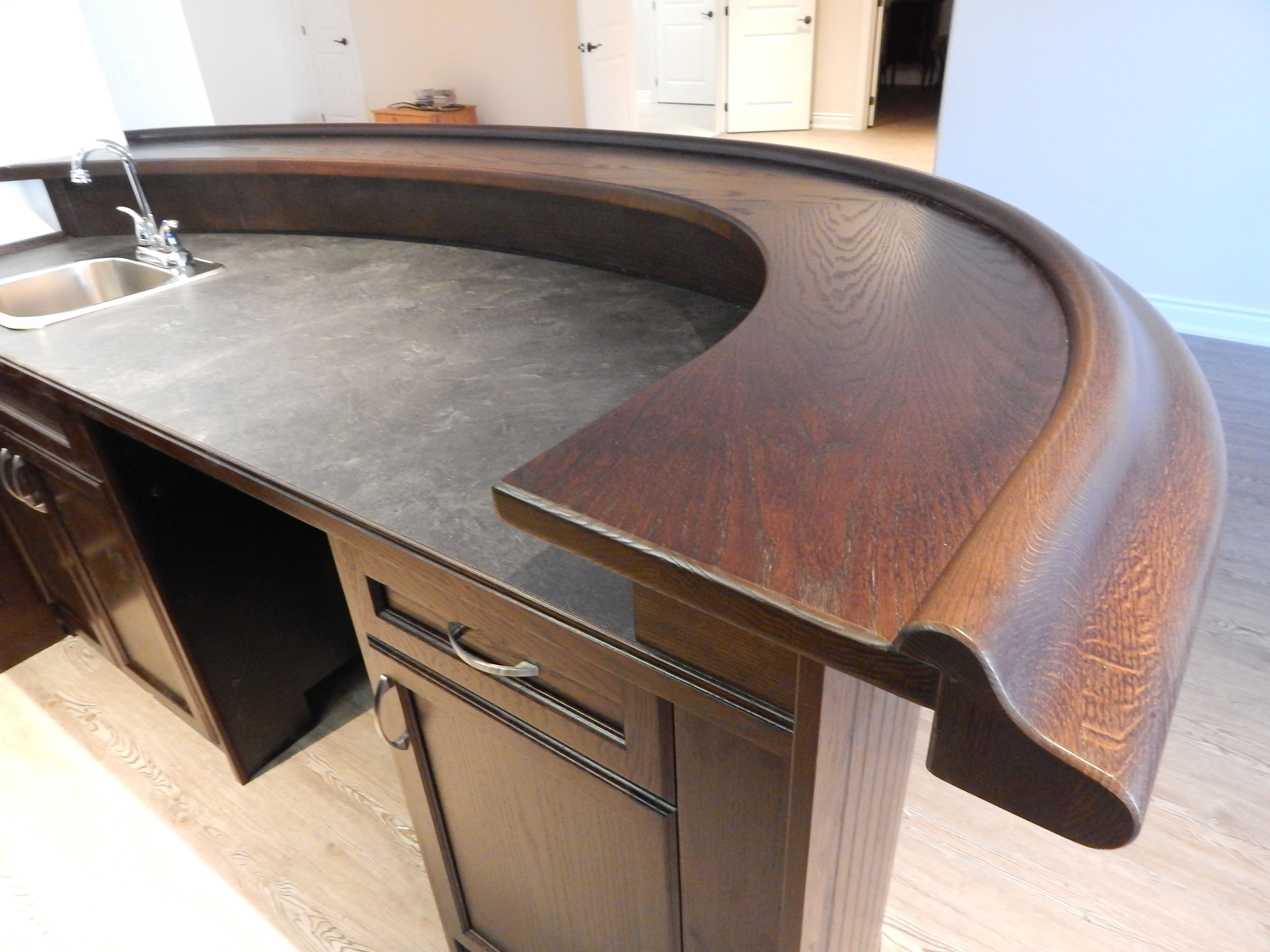 Solid Oak Bar Top And Bar Rail With Laminate Counter Top, Sink U0026 Faucet.
