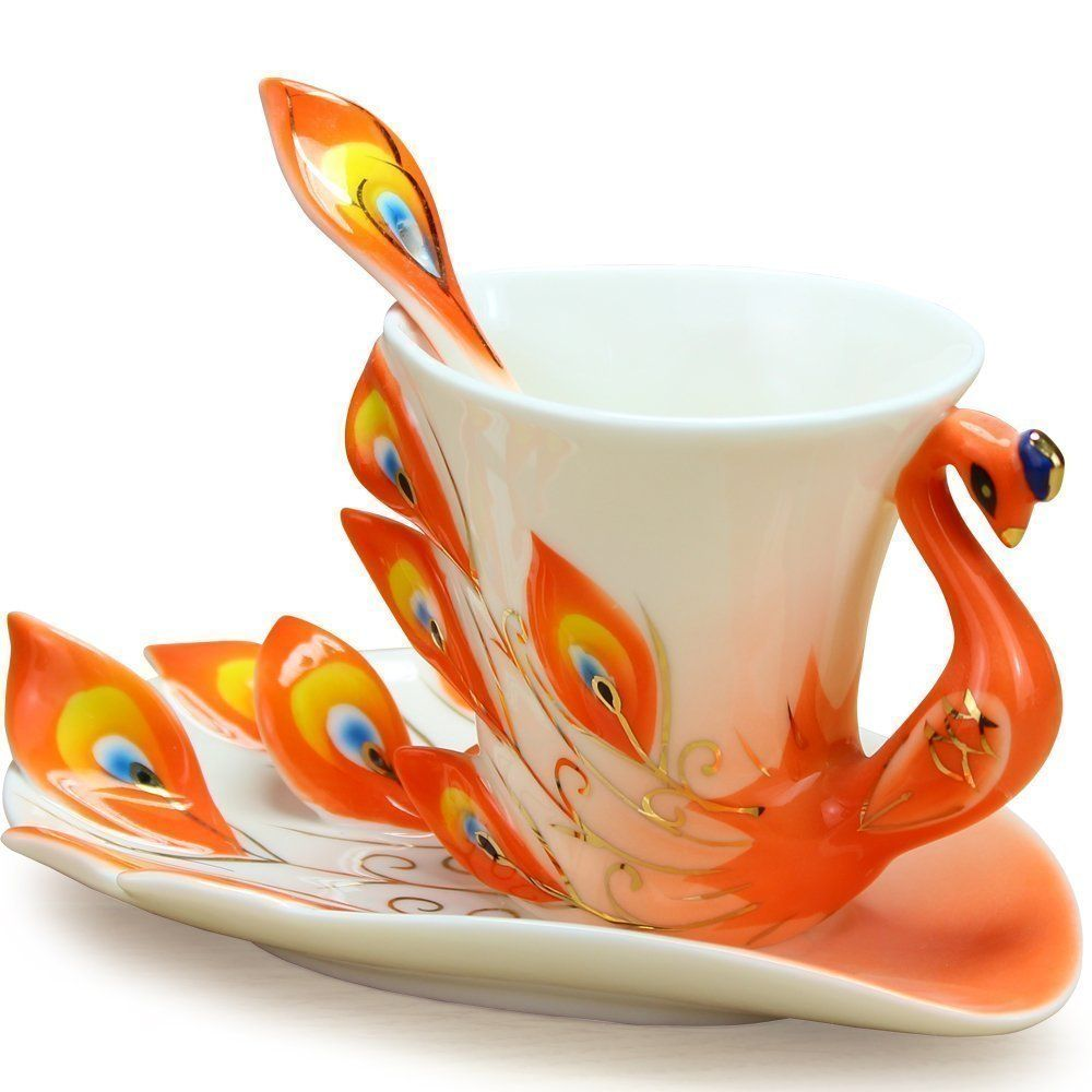 Special Design Rubber Painting Porcelain Square Coffee Cup