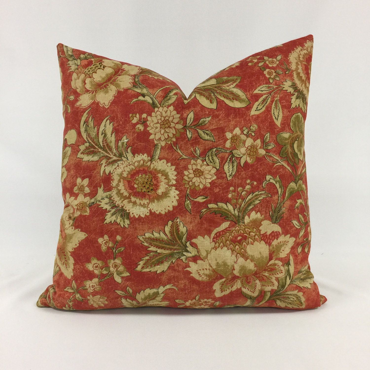 Pillow cover raymond waites distressed linen traditional floral