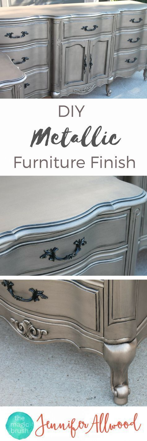 Ideas : DIY Silver Furniture Finish | The Magic Brush | This metallic painted furniture is so popular and easy to DI. Use my furniture painting tips and step by step instructions to give finally paint a dresser makeover #dresser #furniture #paintedfurniture #DIY #homedecor #painting
