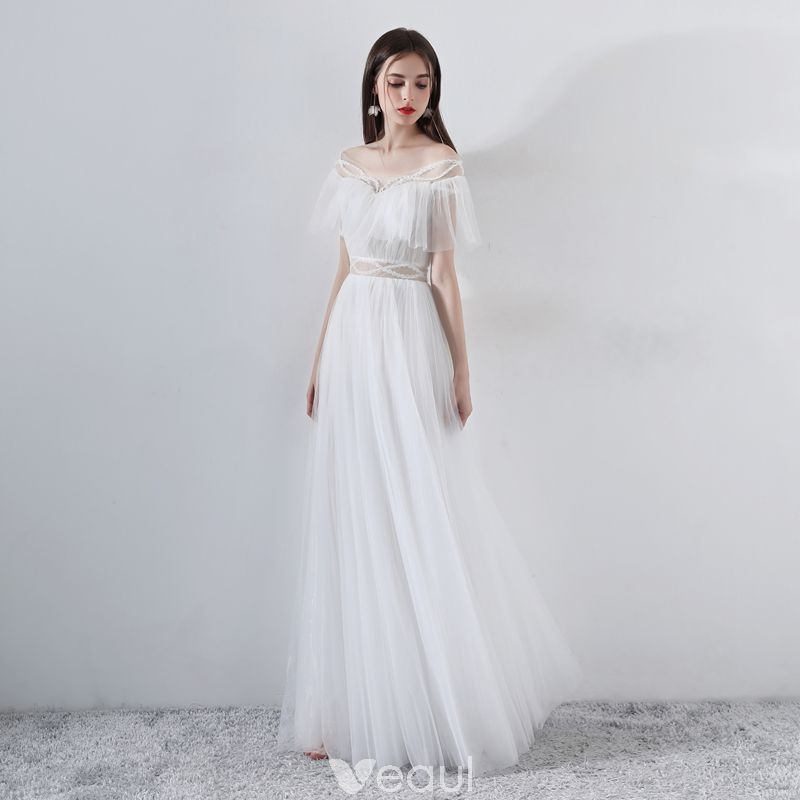 acd66ba93e Modern   Fashion White Evening Dresses 2018 A-Line   Princess Beading  Off-The-Shoulder Short Sleeve Floor-Length   Long Ruffle Backless Formal  Dresses