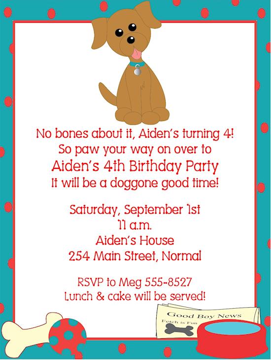 free dog birthday invitations ideas