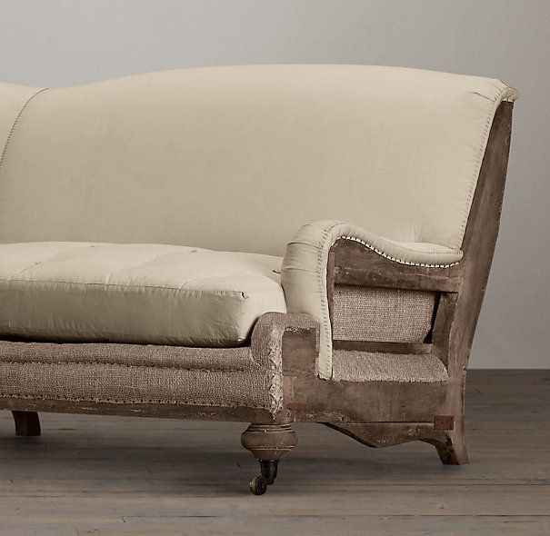 Deconstructed English Roll Arm Sofa Antiqued Linen Slipcovers