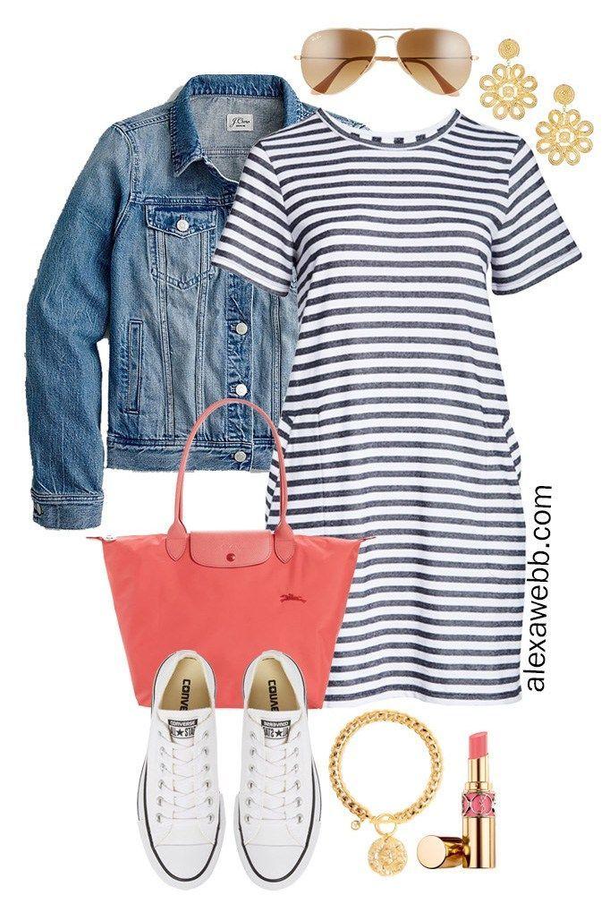 Photo of Plus size stripe t-shirt dress outfits – Alexa Webb