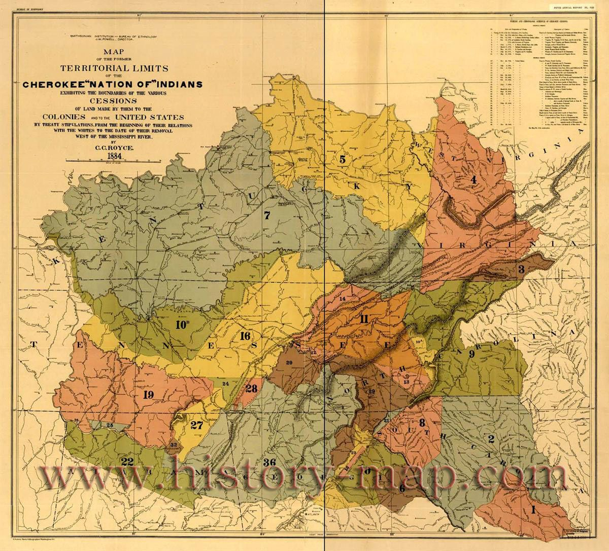 Cherokee Nation Of Indians Territorial Limits Map By