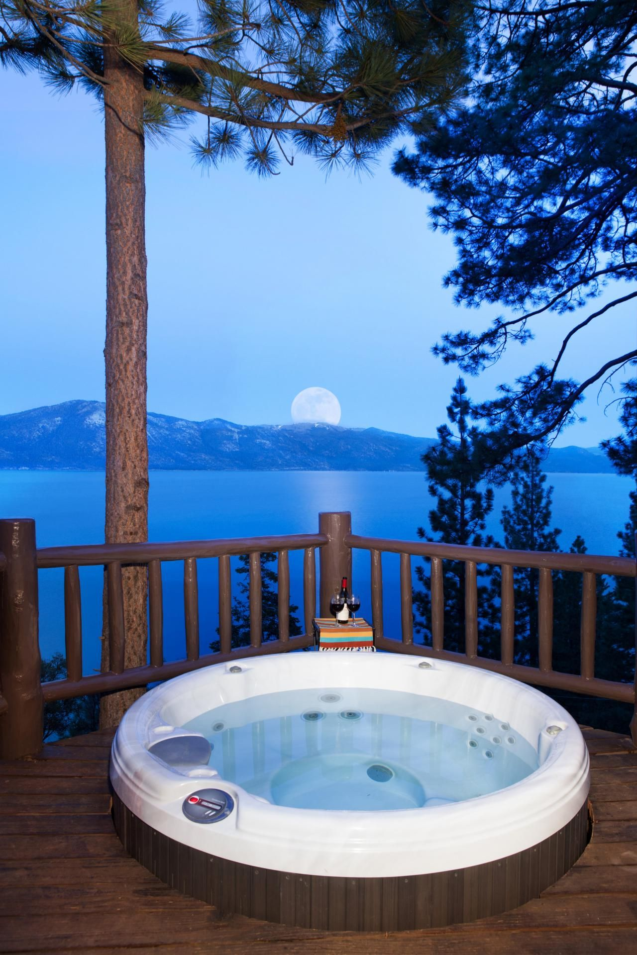 Soak up the view while taking a soak in this hot tub. | At The Lodge ...