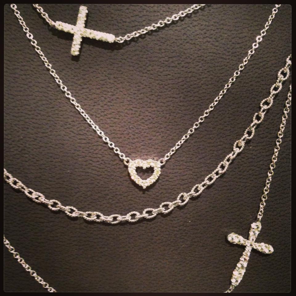 Gabriel sideways cross and heart necklaces