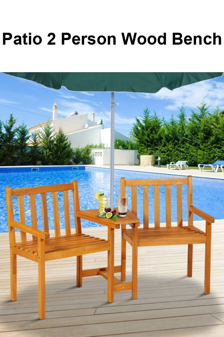 Groovy Details About Outdoor Patio 2 Person Double Wood Bench Chair Evergreenethics Interior Chair Design Evergreenethicsorg