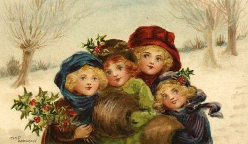 Four Little Girls With Muffs Uddle In The Snow