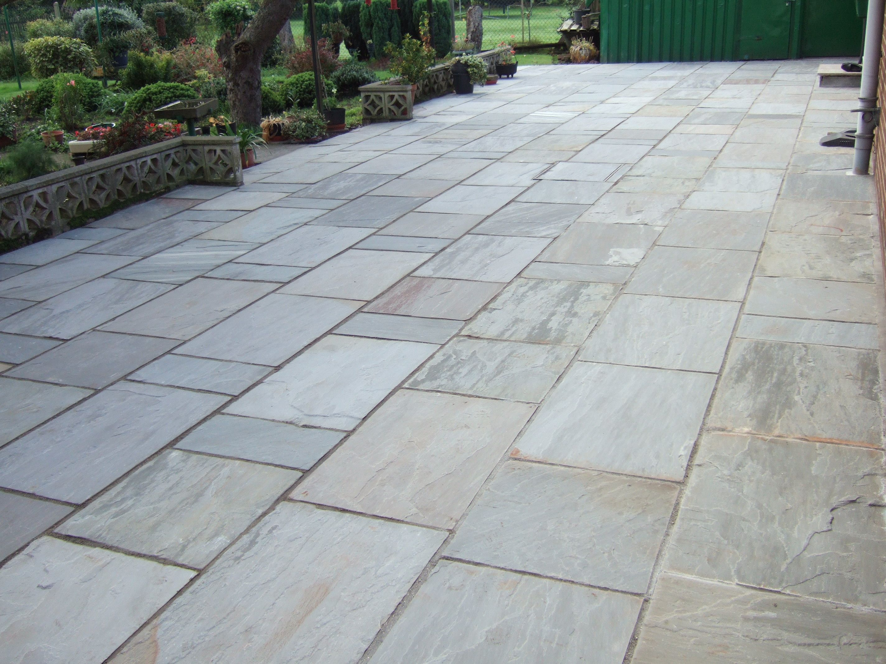 Large Kandlha Grey Indian Stone Patio Laid By Tj Landscapes