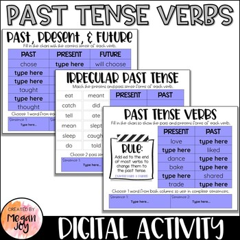 Past Tense Verbs Digital Activity Distance Learningstudents Will Generate And Sort Verb Tenses In Addition To Digital Activities Distance Learning Past Tense