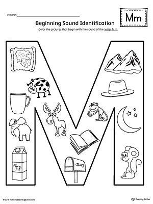 Letter M Beginning Sound Color Pictures Worksheet