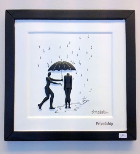 Flott bilde i sort/hvitt 3D laget av den danske kunstneren Anna Nielsen. Strrelse: 22x22 cm