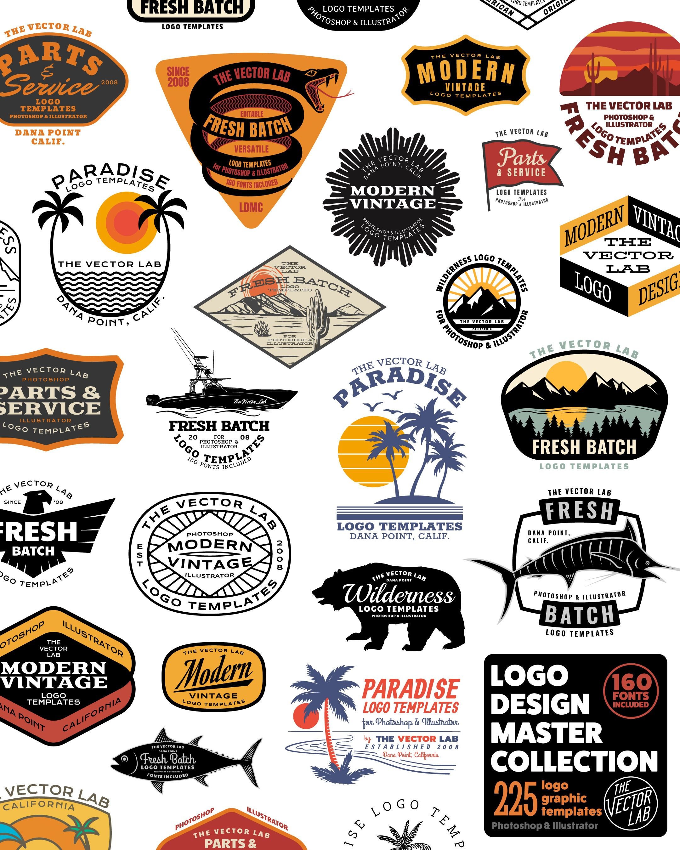 Logo Design Master Collection for Illustrator & Photoshop is part of Logo design - Get all 225 logo templates and 160 fonts in the bundle  Optimized for tshirt designs  You can use also use these for hats, patches, logos, product packaging, embroideries, or anything else that needs a logo   Beginners can easily change the type and colors  Experienced designers can use these designs as a timesaving
