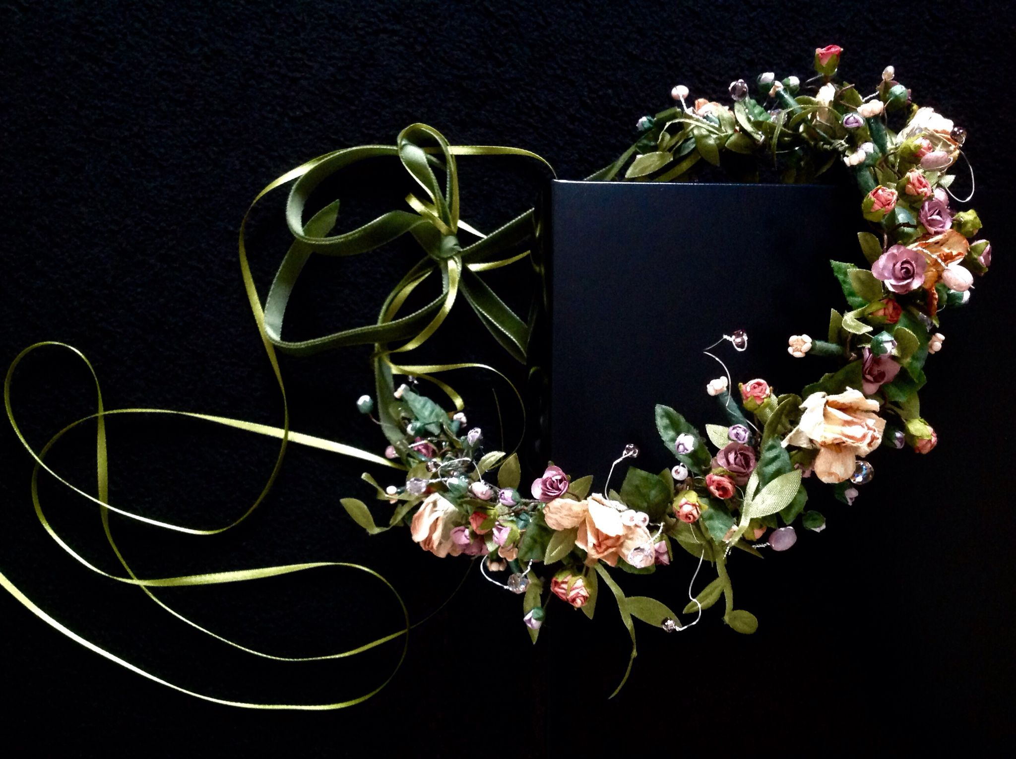 My most favourite creation to date !! This gorgeous floral crown in tiny vintage paper flowers and crystals, tied with green velvet and satin ribbons.
