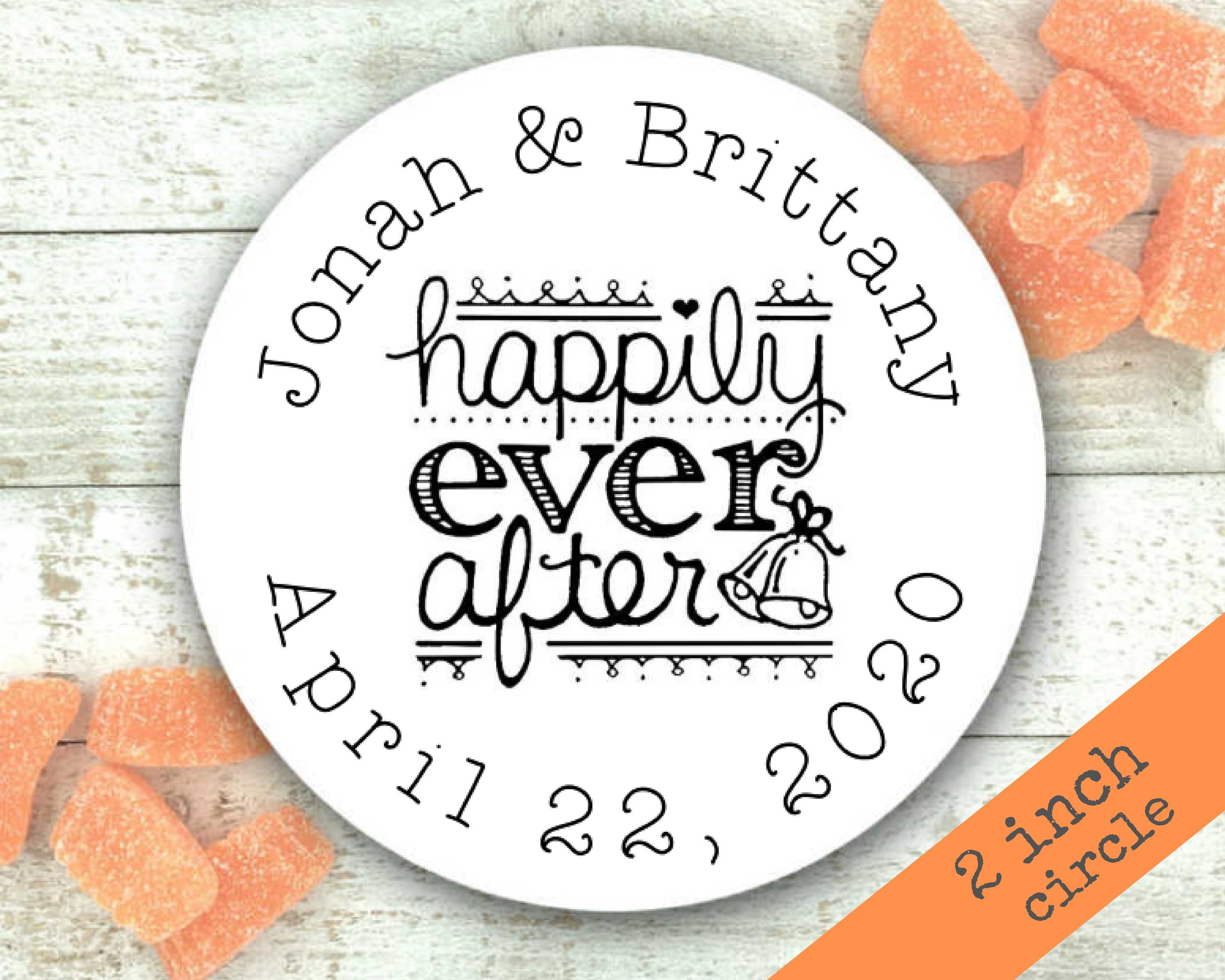 Personalized favor labels for wedding party shower 20 custom stickers 2 inches round happily ever after engagement party favor ideas clementine