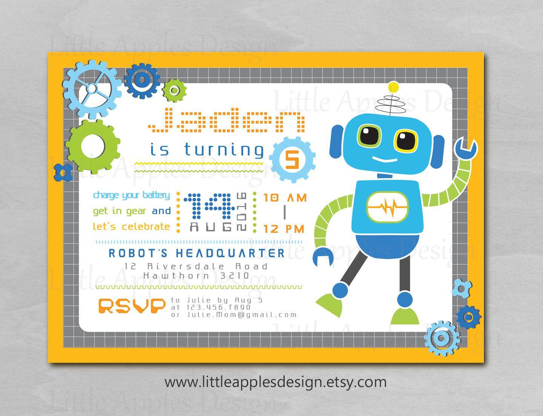Robot invitation robot birthday invitation robot invitation pdf shop robot invitation robot party robot birthday created by littleapplesdesign filmwisefo