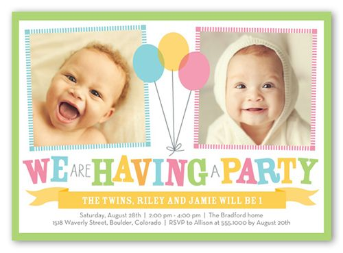 Bright Balloons Twin Birthday Invitation - Birthday invitation cards twins