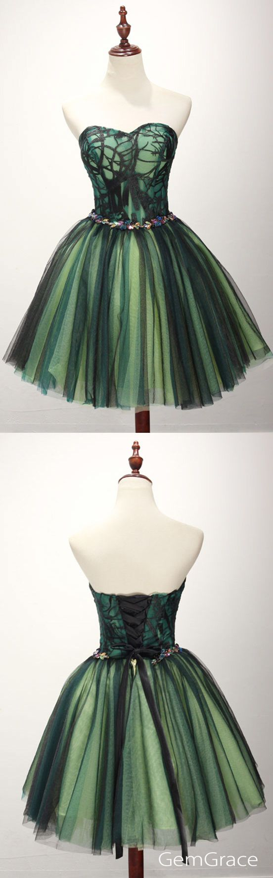 Vintage black green short prom homecoming dress for teens tulle