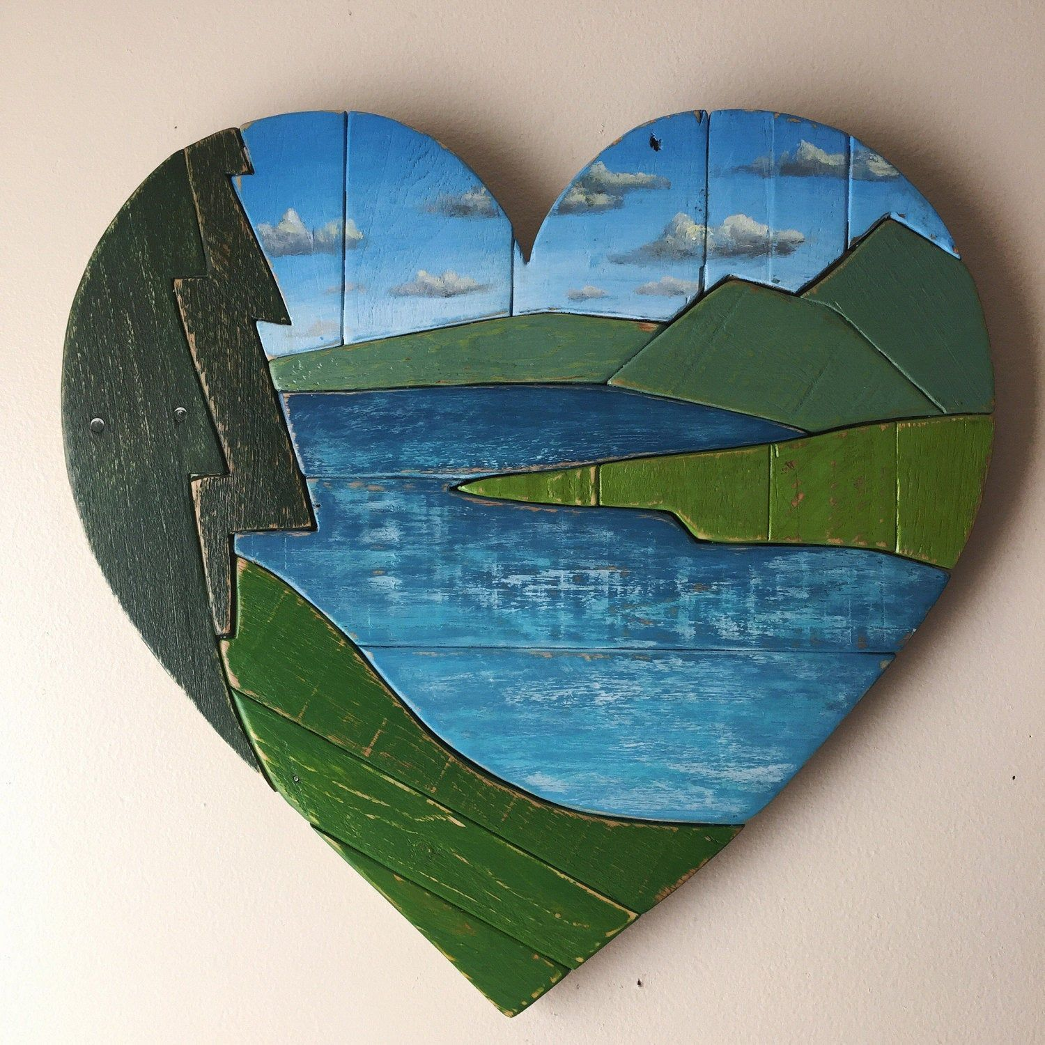Mountain Lake Heart- pallet wood , wall art, rustic, scenic view, nature, paint on wood #woodland #ReclaimedWood #valentines #PalletWood #nature #love #PaintOnWood #lake #WoodArt #WoodHeart