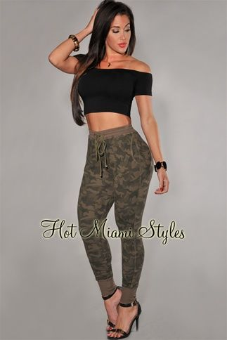 Green Camouflage Jogger Pants $34.99
