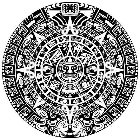 Coloriage azt que medaille mayan tattoos mayan symbols et aztec calendar - Dessin azteque ...