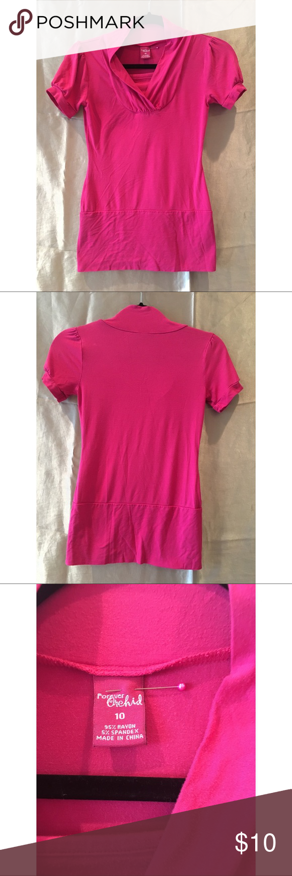 897e1e39 Pretty pink shirt Forever Orchid Brand, tight fitting and has a nice design  at the collar Forever Orchid Tops