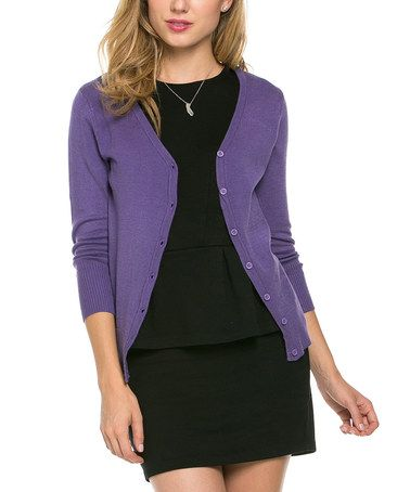 bd09bc759 Look at this  zulilyfind! Blueberry Three-Quarter Sleeve Cardigan ...