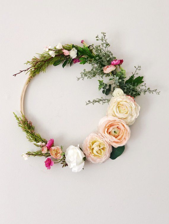 Photo of Spring hoop wreath, ranunculus wreath, pink and blush blooms wreath, nursery wreath, Mother's Day gift, Mother Gift, Grandmother Gift