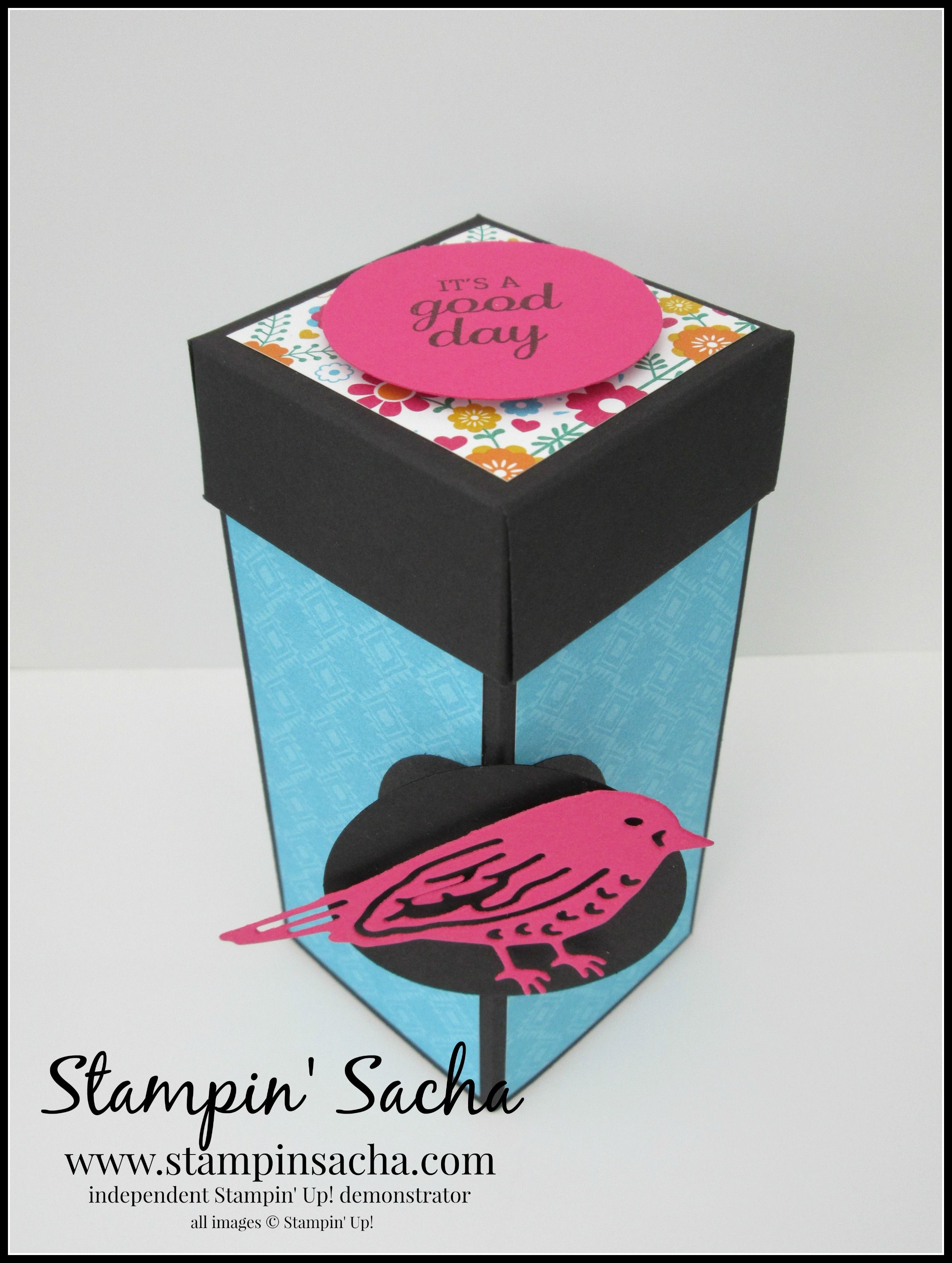 Stampin' Sacha - Stampin' Up! - Annual Catalogue 2016-2017 - Best Birds - Festive Birthday DSP - Basic Black - Tempting Turquoise - Melon Mambo - Stepper Box (without Origami) - #stampin_sacha - #stampinup
