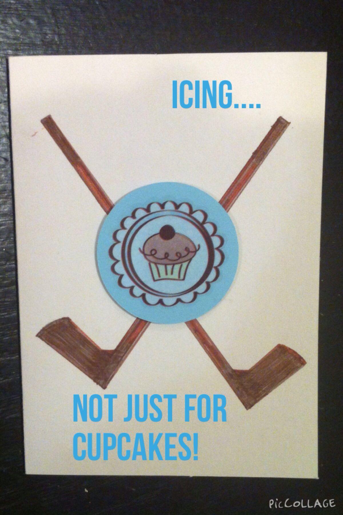 Homemade birthday card for my hockey fan man! Wrote icing