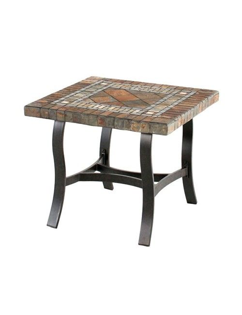 Slate Top Patio Side Table Is Ideal For Outdoor Use