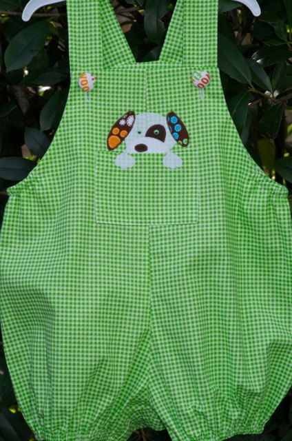 Baby Boys Romper with Puppy Applique, Size 12 mo. Ready to Ship