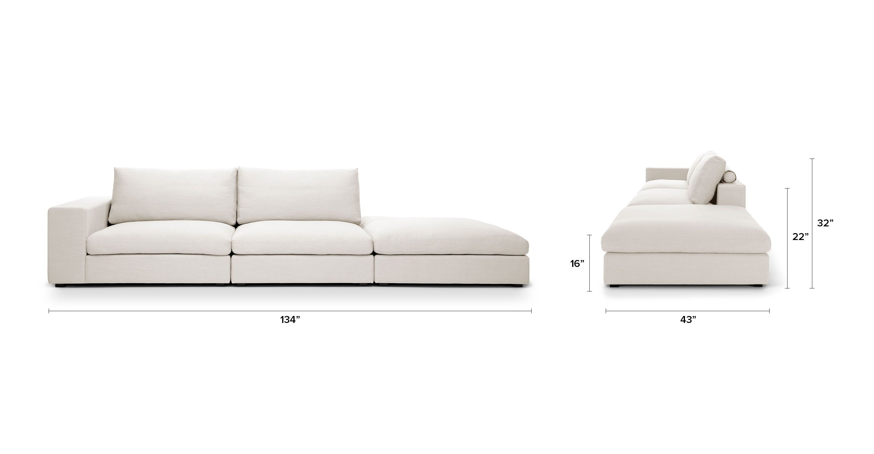 Cube Quartz White Modular Sofa Left Arm Sofas Article Modern Mid Century And Scandinavian Furniture