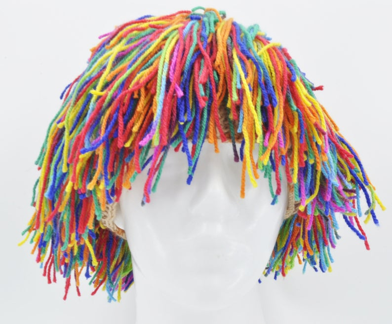 Yarn Wig Clown Hair For Halloween Funny Party Hat Handmade Clown Wig Costume Accessory Clown Hair Yarn Wig Clown Halloween Costumes