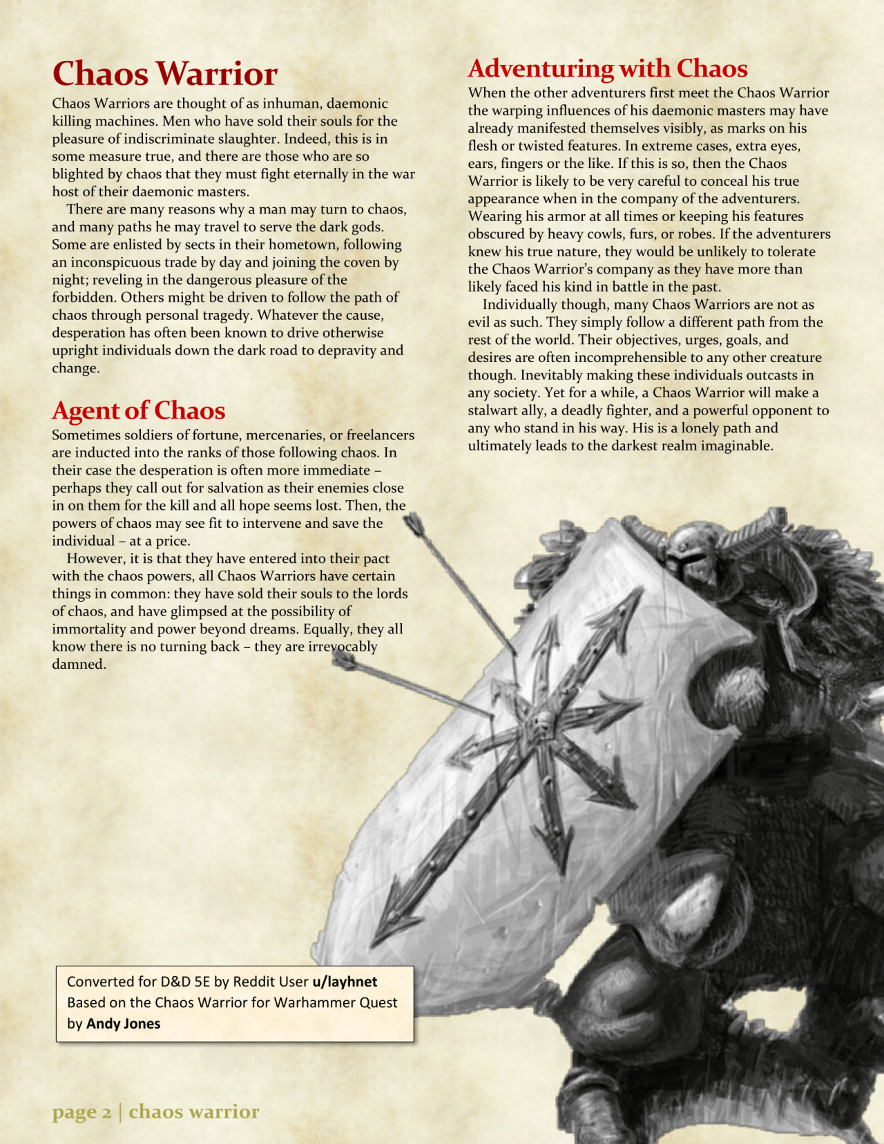 DnD 5e Homebrew — Chaos Warrior Class by layhnet The other Artifacts