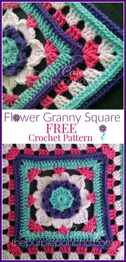 Flower Granny Square - Free Crochet Pattern - The Purple Poncho #grannysquareponcho