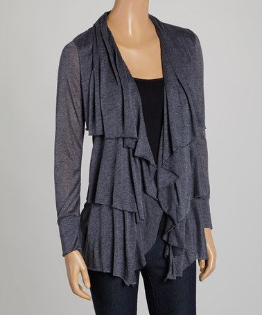 This Navy Long-Sleeve Open Cardigan by Sweet Pea by Stacy Frati is perfect! #zulilyfinds
