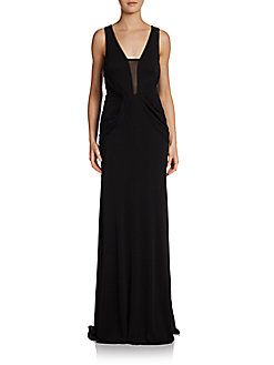 Sleeveless Jersey/Mesh Gown