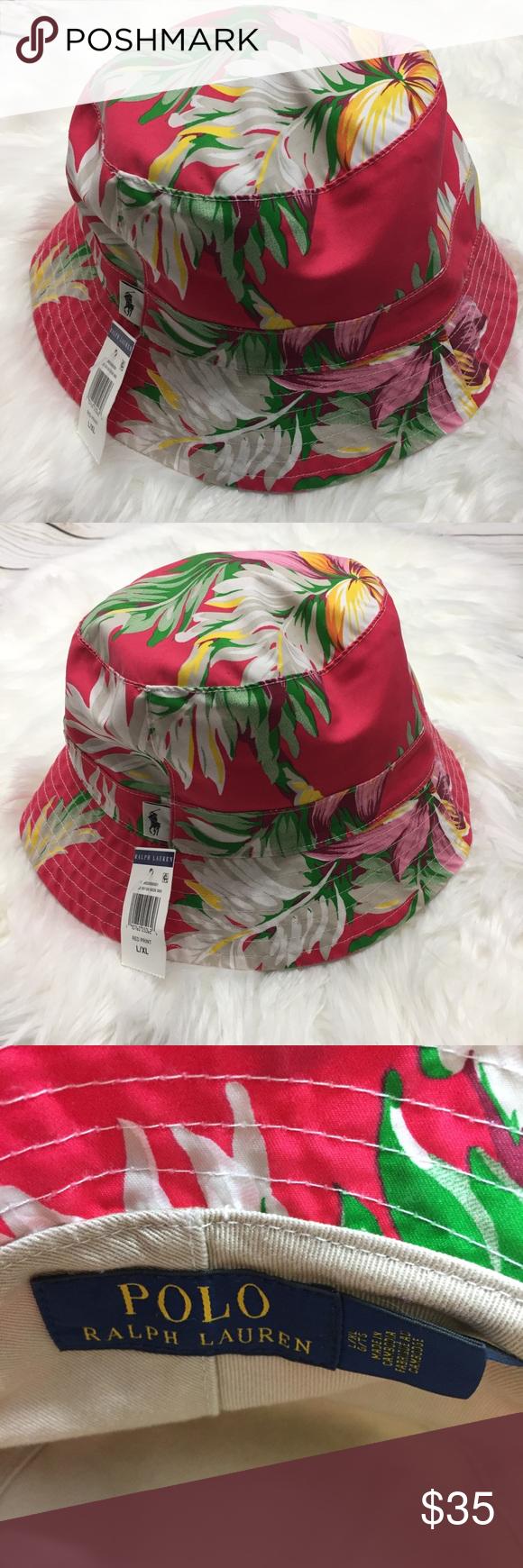 fdb40c72933 Polo Ralph Lauren Floral Palm Leaf Bucket Hat NEW! NWT Polo Ralph Lauren  Floral Palm