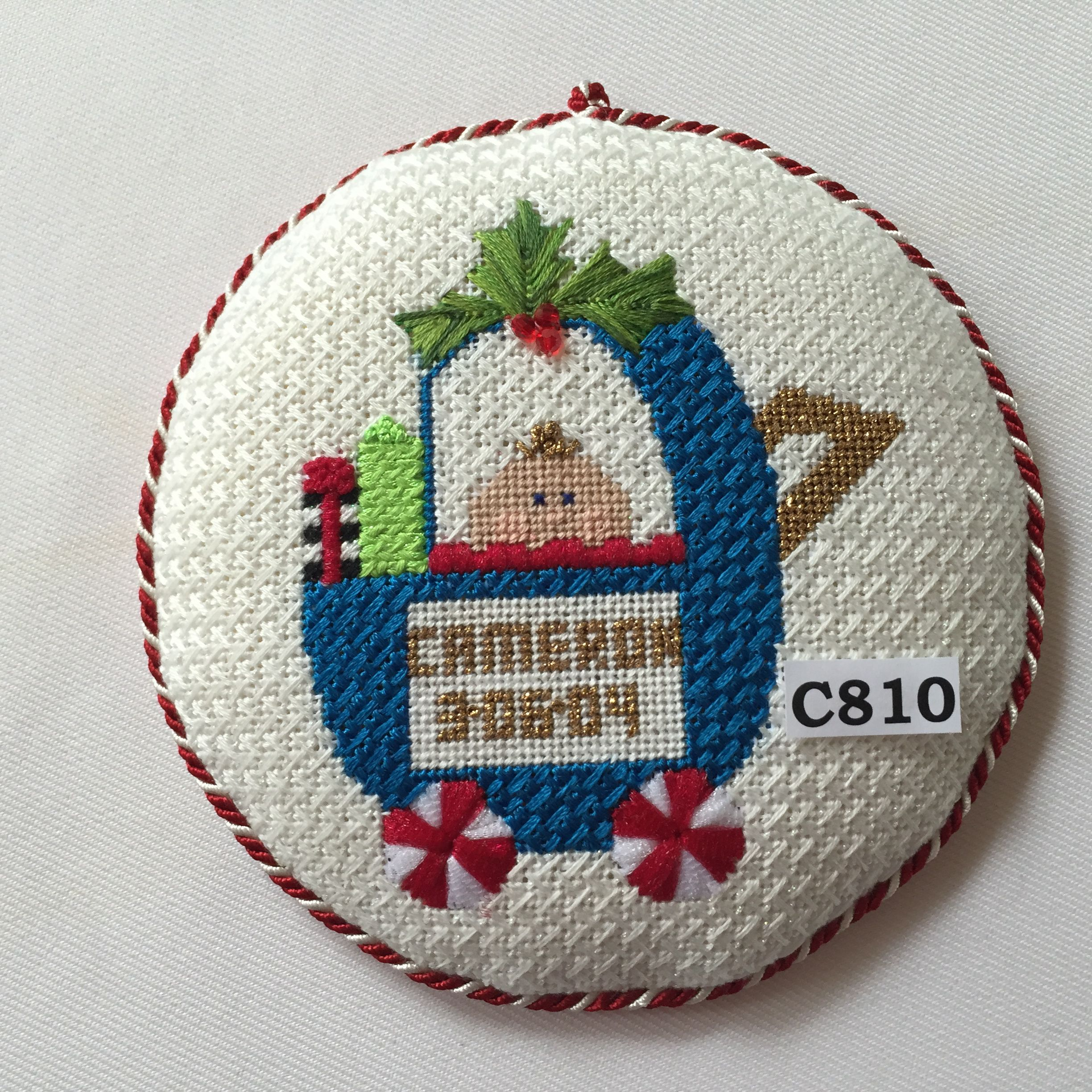 New baby christmas ornament - Princess Me Needlepoint New Baby Ornament