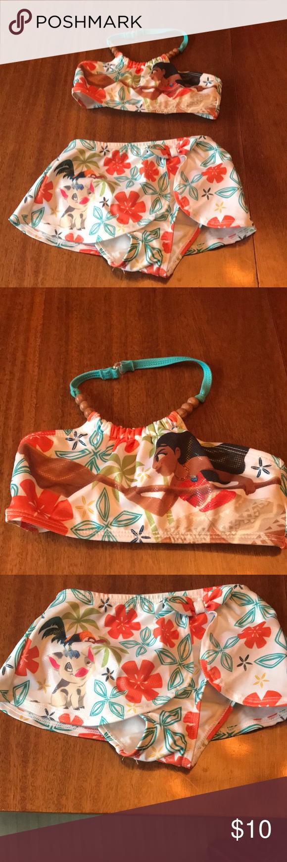 310d386219601 Child's Disney Moana two piece swimsuit Girls two piece Moana swimsuit from  Disney store Euc Disney Swim Bikinis